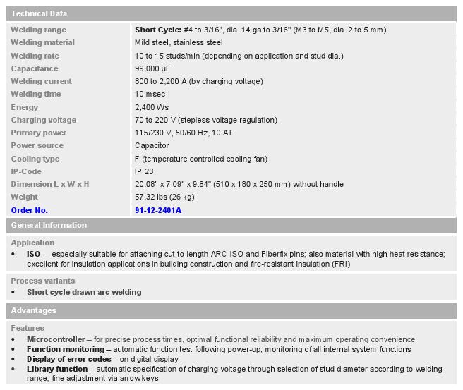 SC 2401 Stud Weld Unit_chart