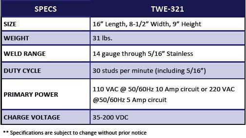 TWE 321 Capacitor Discharge Stud Welder_chart