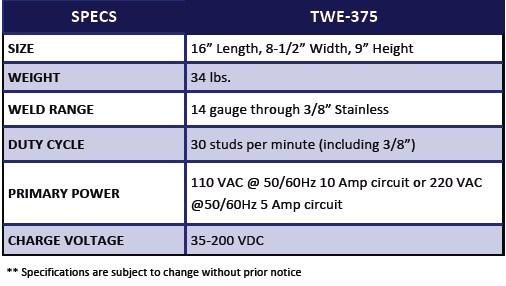 TWE 375 Capacitor Discharge Stud Welder_chart